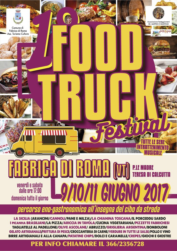 Il primo festival fabrichese dedicato al FoodTruck 9-10-11 giugno Fabrica di Roma (VT) Arriva un camion (anzi decine di camion) carichi di sapori! #FoodTruckFestival 9-10-11 giugno Fabrica di Roma http://www.elisabettacastiglioni.it/attivita/news/fabrica-food-truck-festival-9-10-11-giugno.html