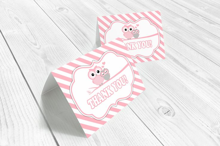 Pink owl thank you cards, folded card template, owl baby shower, pink, girls, owl cards, pink owls, printable, instant download by WolcottDesigns on Etsy