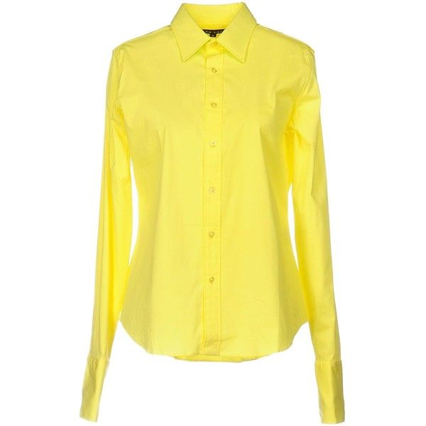 Ralph Lauren Black Label Shirt ($220) ❤ liked on Polyvore featuring tops, yellow, yellow long sleeve top, extra long sleeve shirts, yellow shirt, long sleeve tops and long-sleeve shirt
