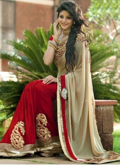 http://www.voonik.com/recommendations/maruti-enterprise-red-and-cream-bollywood-designer-saree-lagencyfashionhub-god--2 #shopping #deals #nailthatdeal