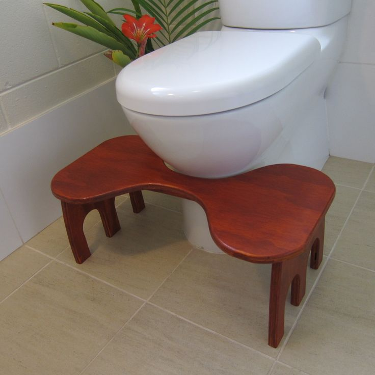 Toilet Stool In Position Timber Toilet Stool