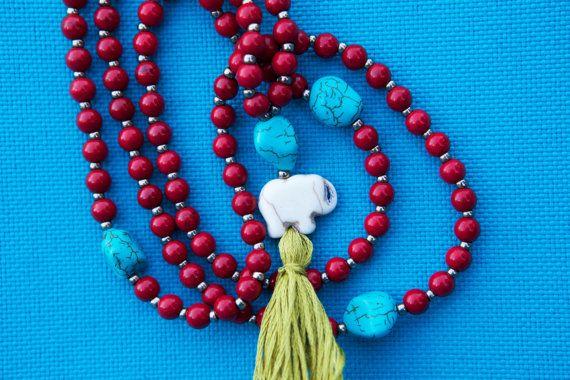 Elephant Mala Necklace Red Mala Turquoise Mala by SlothAndCo