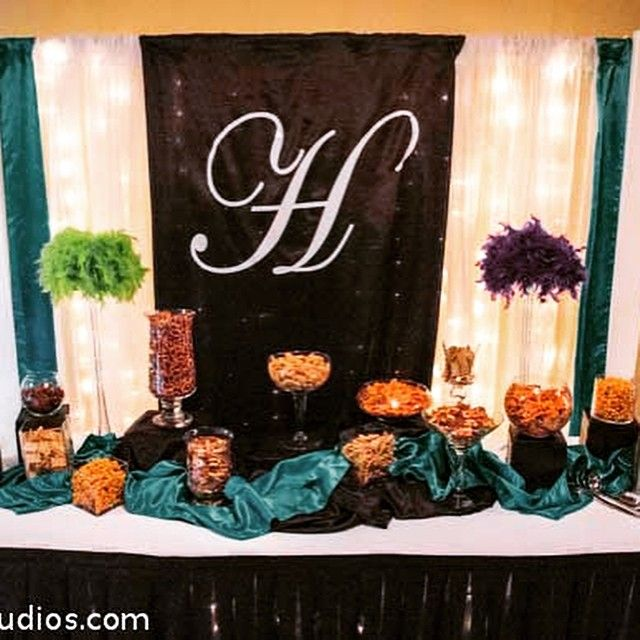 """""""Snazzy snack bar in the hallway designed by Walnut Street Weddings. Bring in your own decorator, choose from your preferred list, or DIY. Call us for more…"""""""