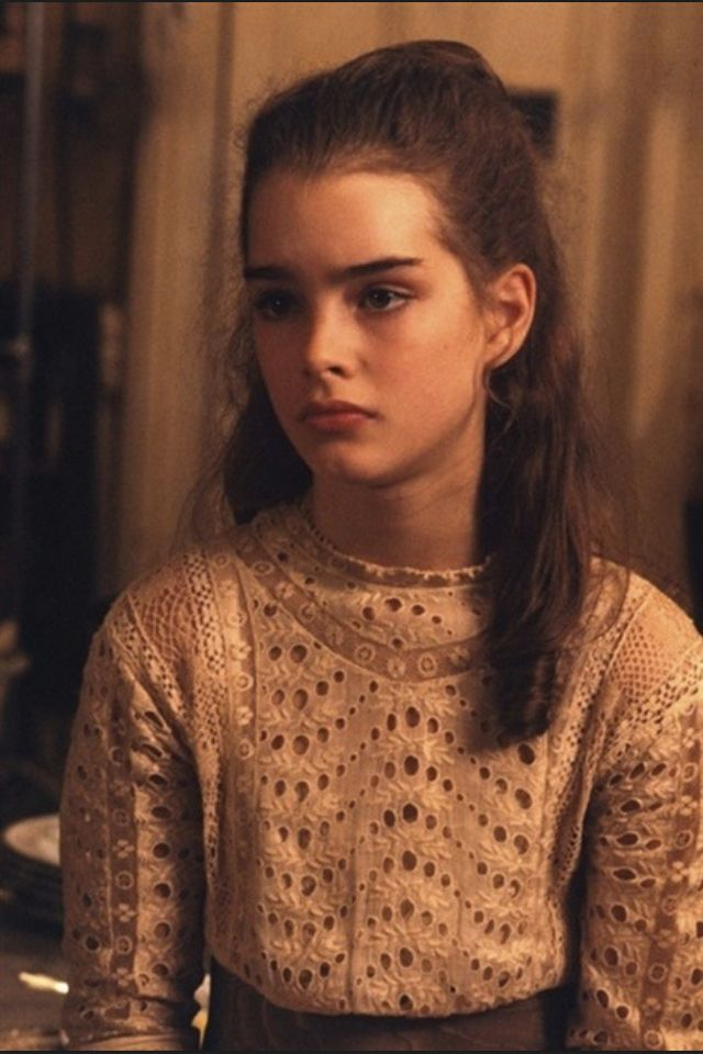 brooke shields at 15 years old. Lace, vintage, top.