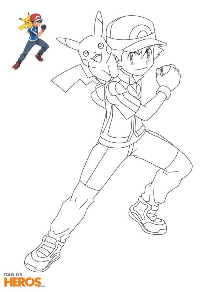 Coloriage Pokémon Le Fameux Duo Sacha Et Pikachu Formant