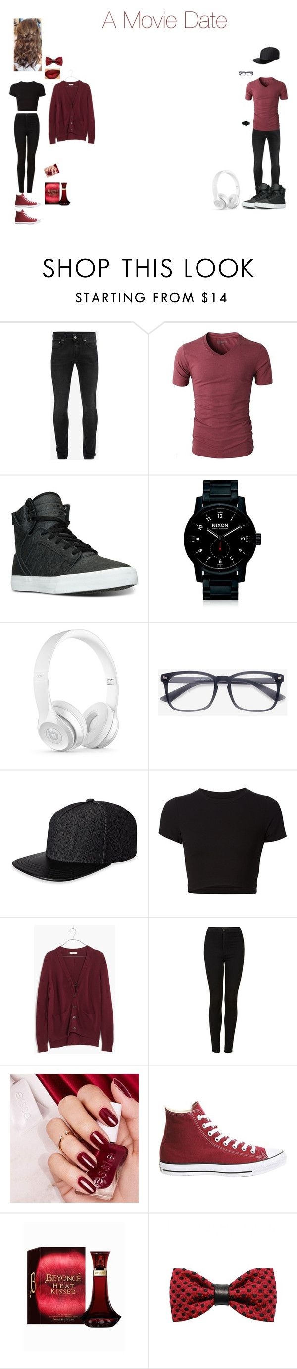 """A Movie Date"" by cadie605 ❤ liked on Polyvore featuring Alexander McQueen, Supra, Nixon, Beats by Dr. Dre, Gents, Getting Back To Square One, Madewell, Topshop and ZuZu Kim"