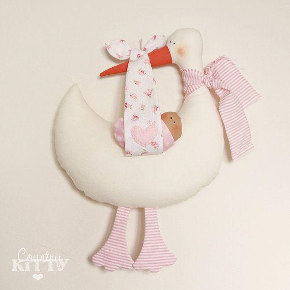 Rosa di cicogna softie neonato decorazione - Fiocco nascita cicogna - nome personalizzabile - bambina-
