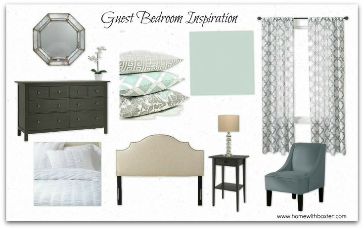 how to rearrange bedroom with two windows | Here's a look at the mood board I put together for the space: