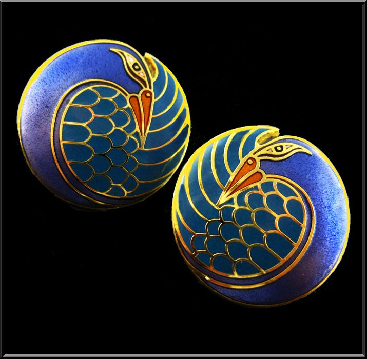 Mynah Bird - 1983 Cloisonne Enamel Post Earrings by Laurel Burch