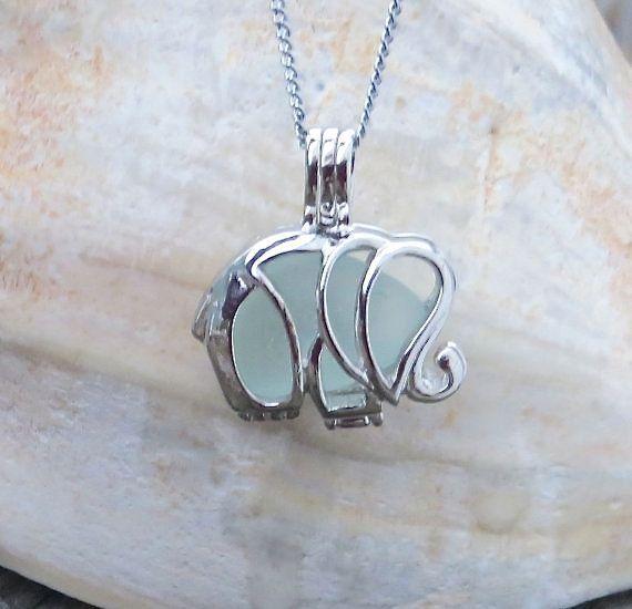 Pale Aqua Sea Glass Elephant Necklace Locket by Wave by WaveofLife
