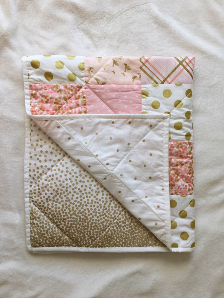 Baby Blanket, Modern Baby Quilt, Girl, Pink, Gold, White, Star, Bird, Dot, Chevron, Crib Bedding, Baby Bedding by MiniMebyAllaVera on Etsy https://www.etsy.com/listing/261029717/baby-blanket-modern-baby-quilt-girl-pink