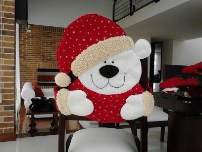 capa de cadeira para o Natal -  ursinho noel