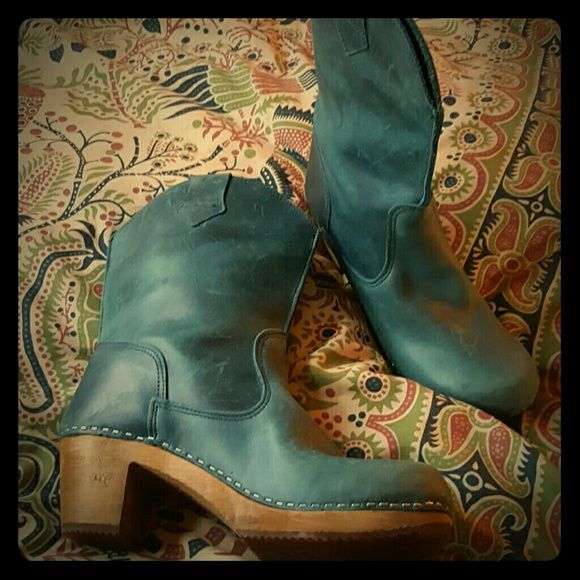 "Blue Wood Square Boot Rustic and charming.  Made in Poland with wood and rubber soles. 2.25 "" heel, .75"" platform, 9"" shaft, 14"" calf circumference.  Pull on style. Price reflect the scuffed up leather. Worn outside only a few times. Sanita Shoes Heeled Boots"