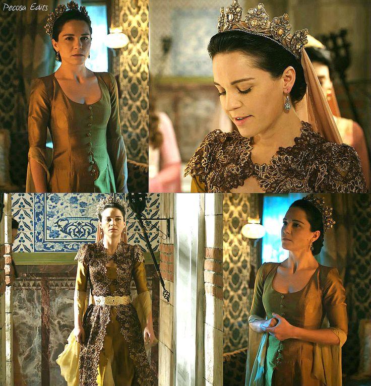 muhtesem yuzyil kosem, magnificent century kosem, handan sultan, gold dress, bronze lace