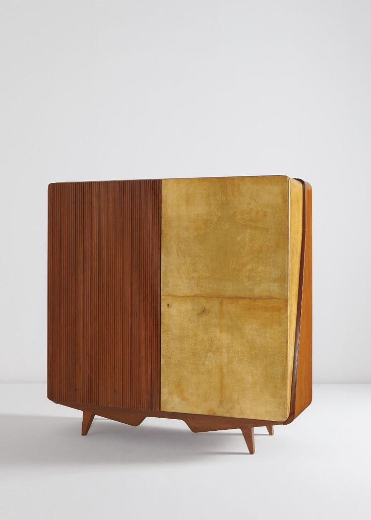 Gio Ponti; Unique Pear Wood, Brass, Parchment-Covered and Plastic-Laminated Wood Armoire, c1958. #Gioponti