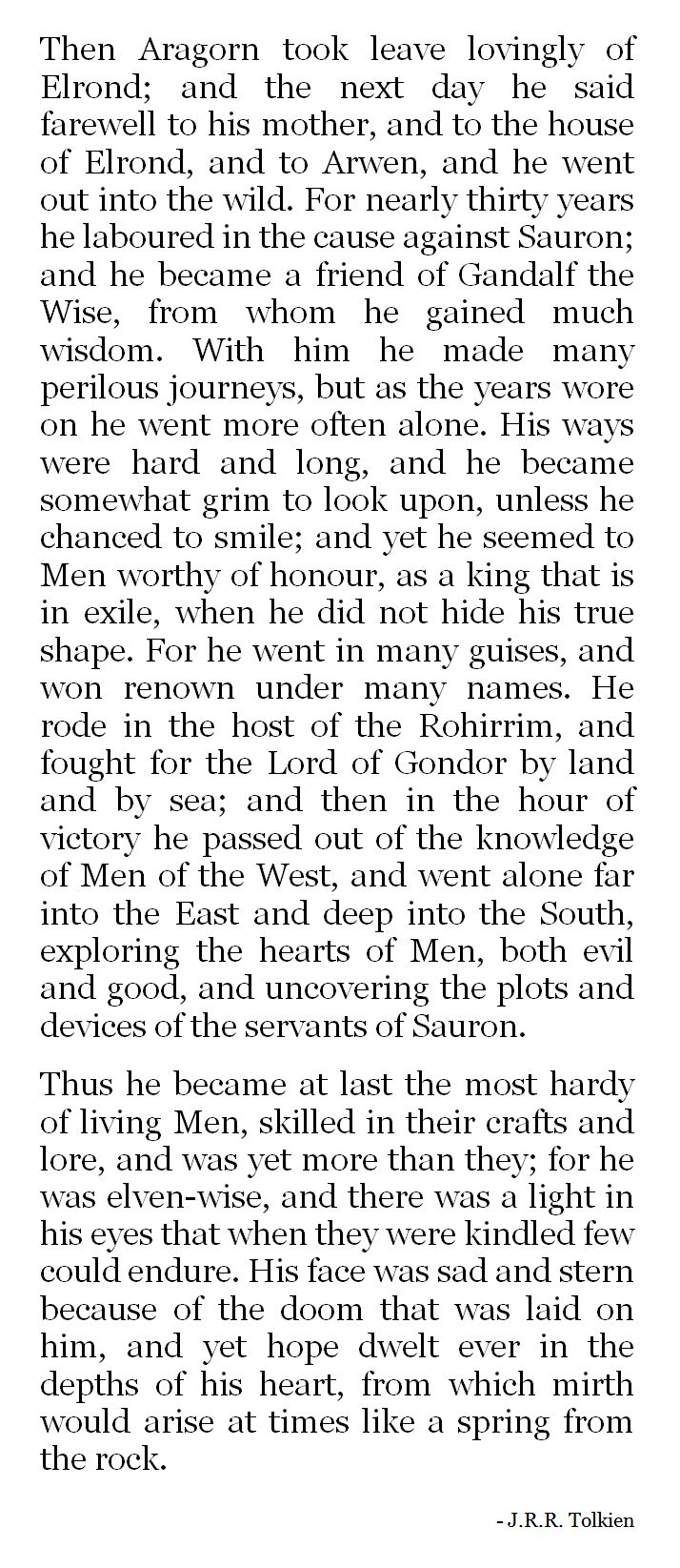 J.R.R. Tolkien from the appendices The Love Story of Aragorn and Arwen