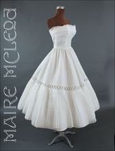 Strapless 1950's White Cotton Pique & Organdy Dress * XSm