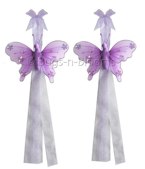Butterfly Curtain Tieback Pair / Set Jewel Tiebacks by BugsnBlooms, $11.95