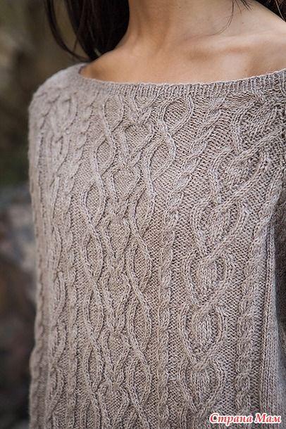 Здравствуйте! Предлагаю вашему вниманию милый пуловер с горловиной - лодочкой. Нашла его на платном сайте.