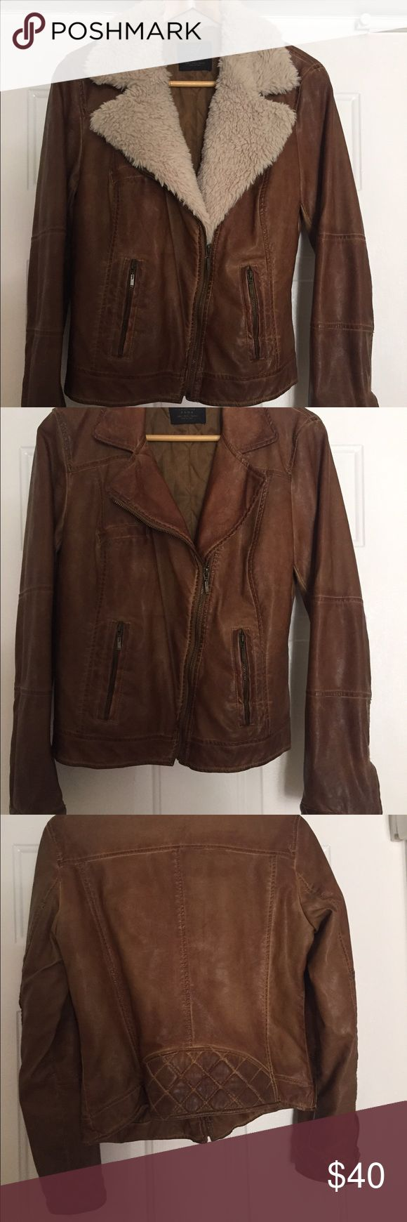 Zara brown leather fur jacket Soft brown leather jacket with removable fur from Zara Trafaluc collection. Very warm winter wear. Soft fur and soft leather . Good condition. Real leather Zara Jackets & Coats