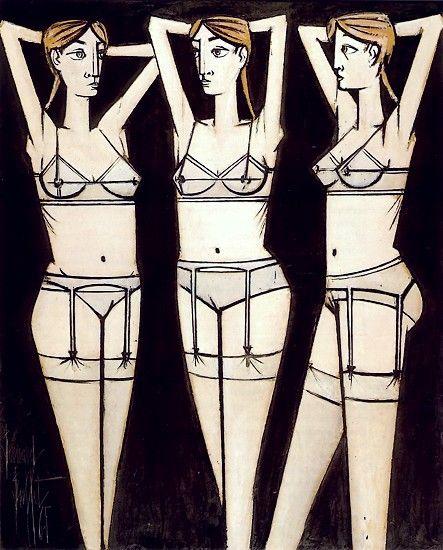 Bernard Buffet - Femmes déshabillées - Trois femmes - 1965  huile sur toile 248 x 199 cm ©ADAGP