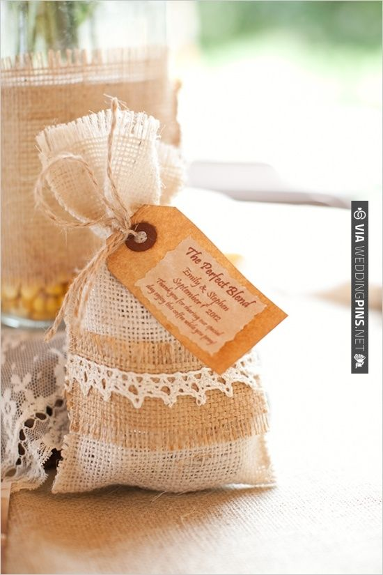 Coffee Wedding Favors Wrapped In Burlap Lace
