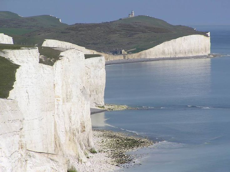 Beachy Head 7 (in background, with the Belle Tout Lighthouse seen from west; in foreground, eastern part of Seven Sisters Cliffs) - East Sussex, England, UK