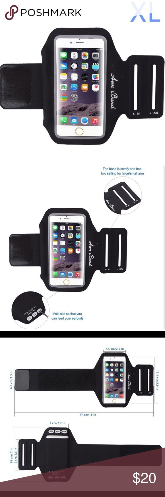 XL Running Armband for Cell Phone Water Resistant Running Armband for iPhone Women or Men Workout Sport Fitness Water Resistant Armband Lightweight for iPhone 8, X, 7 Plus,6 Plus,6s Plus. and Samsung Galaxy S7 Edge ,S8 (XL-Black)  New in package   Same day shipping if I order by 4 PM weekdays Smoke free and pet free home Accessories Phone Cases