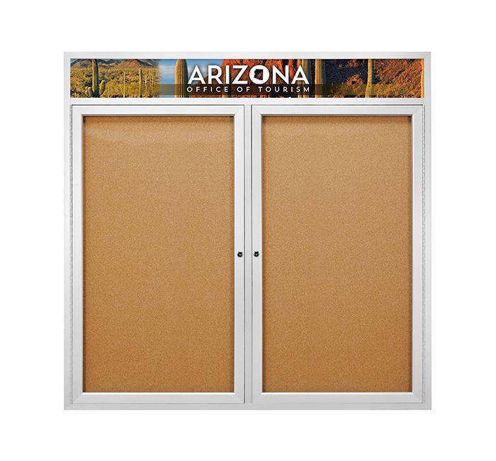 2 Door Indoor Outdoor Enclosed Bulletin Board Display Cases Feature A Personalized Message Header T Wall Mounted Display Case Wall Display Case Display Case