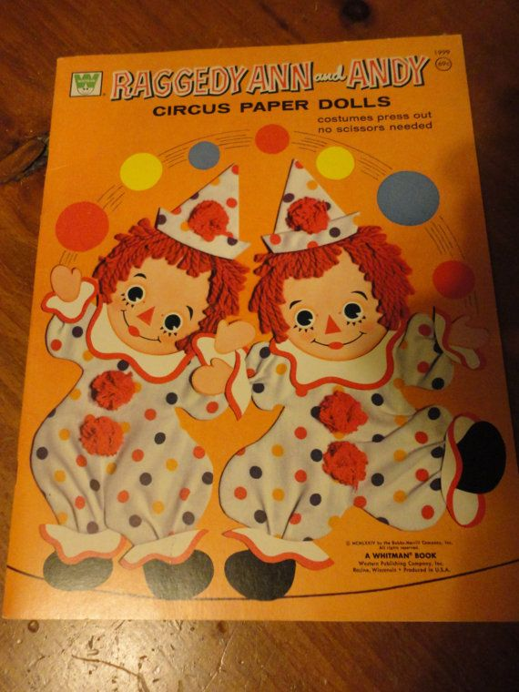 Vintage Raggedy Ann and Andy Circus Paper Dolls by bonneyhillshop @miraw