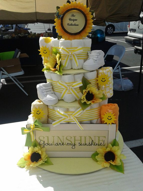 Baby Boy or Girl 4 tier Diaper cake - an adorable baby shower gift - made to order on Etsy, $100.00