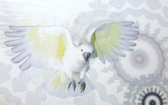 Love this fun fabric panel of a cockatoo in flight! - various colours available. #fabricpanel www.lyndaanne.com