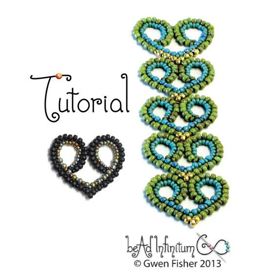 *P TUTORIAL Beaded Lace Hearts Part 6 of the Beaded Lace by gwenbeads, $7.00