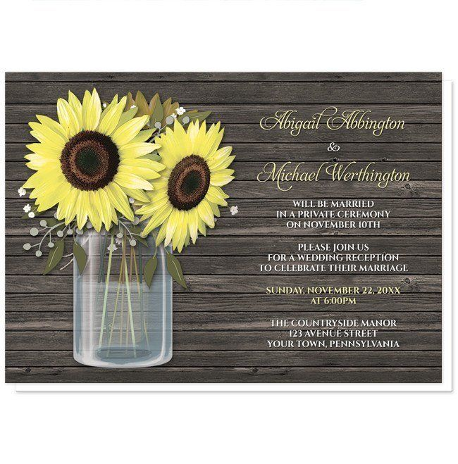 Thank you, Tamy in Indiana, for your purchase of these Rustic Sunflower Wood Mason Jar Reception Only Invitations. (8/10/2016)