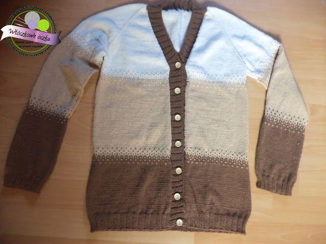 knitting cardigan in stripes  sweter na drutach w paski