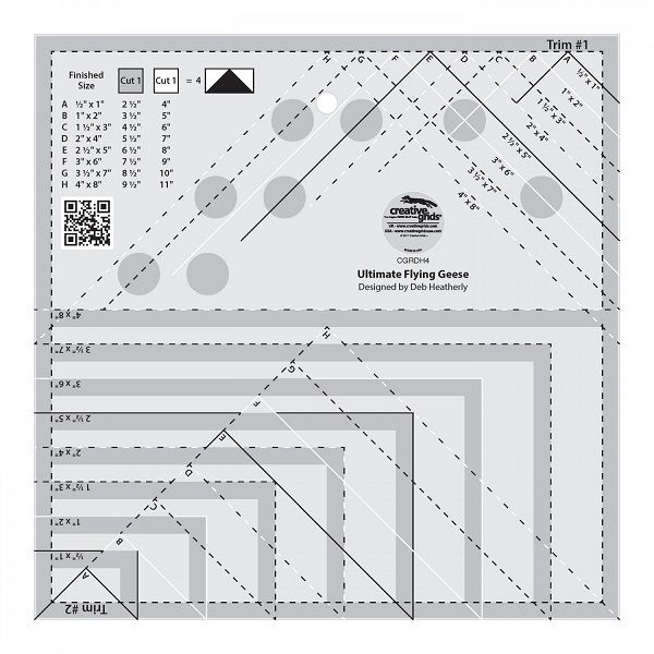 Creative Grids Ultimate Flying Geese Template   Quilt Ruler   Flyer Geese Template