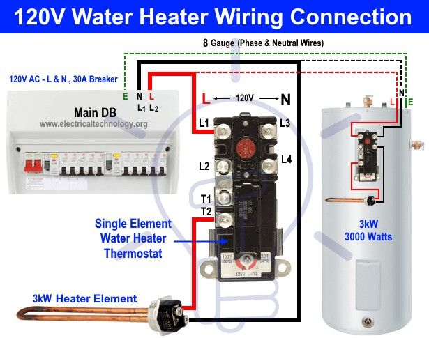 How To Wire Single Element Water Heater And Thermostat Water Heater Home Electrical Wiring Water Heater Thermostat