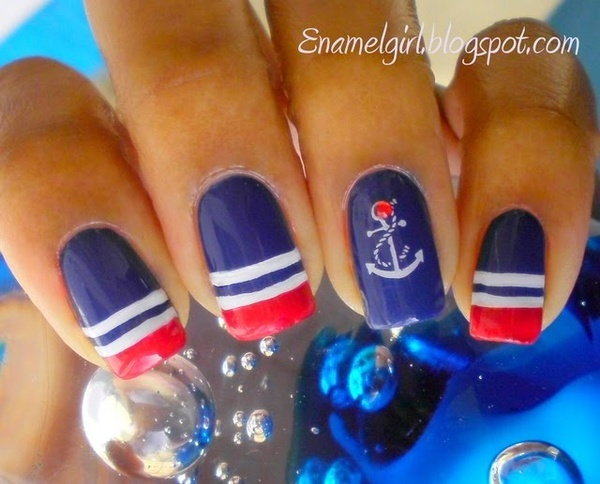 Get a similar look with our Red, White & Blue stripe and our Nautical or Set Sail nail wraps at www.danilynn.jamberrynails.com