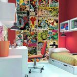 Cool Marvel Wallpaper Kids Bedroom Design Inspiration With Red Wall Painted And Rectangle White Laminated Wood Book Shelves Also Modern White Study Desk Combine Comfortable Red Chair