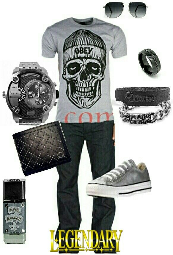 Men's fashion casual outfit... I'd probably swap out the watch for a bracelet, though.