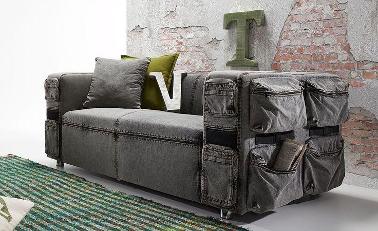 Sofás de 2 plazas de tela vaquera SAMUEL. Decoración en sofás de diseño.