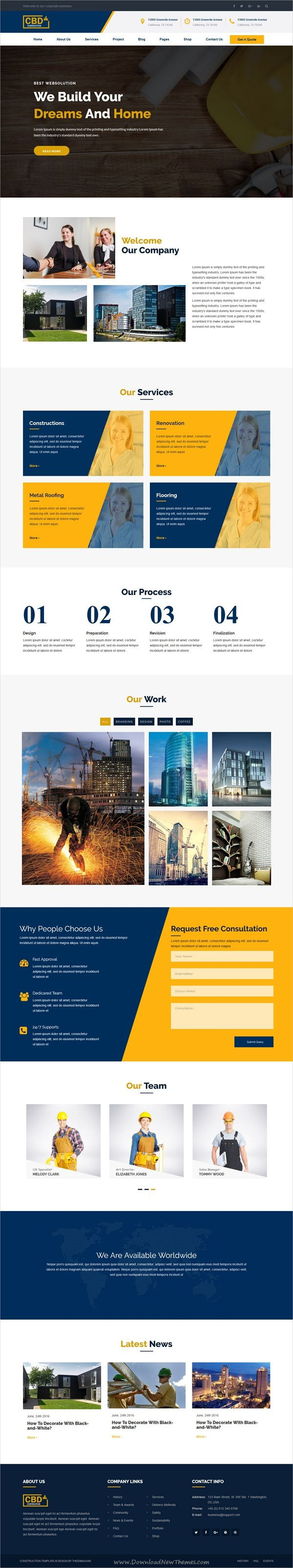 Construct is clean and modern design 5in1 responsive #HTML5 template for #construction and #architecture company website download now..