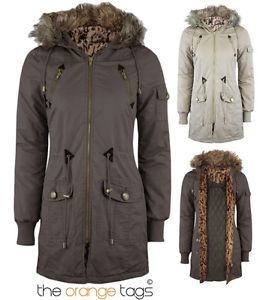 NOW!!! WOMENS PARKA MILITARY JACKET LADIES FUR HOODED PADDED COATS