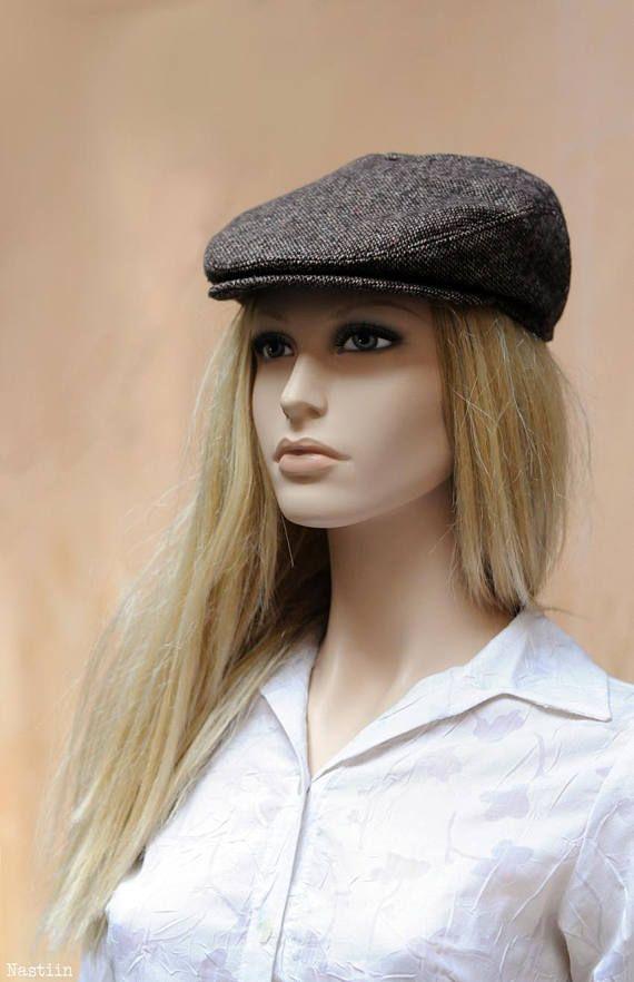 ... Womens newsboy hat Brown tweed hat Men newsboy cap Wool hat Autumn hat  Brown hat Flat ... 66bdaedb2e06