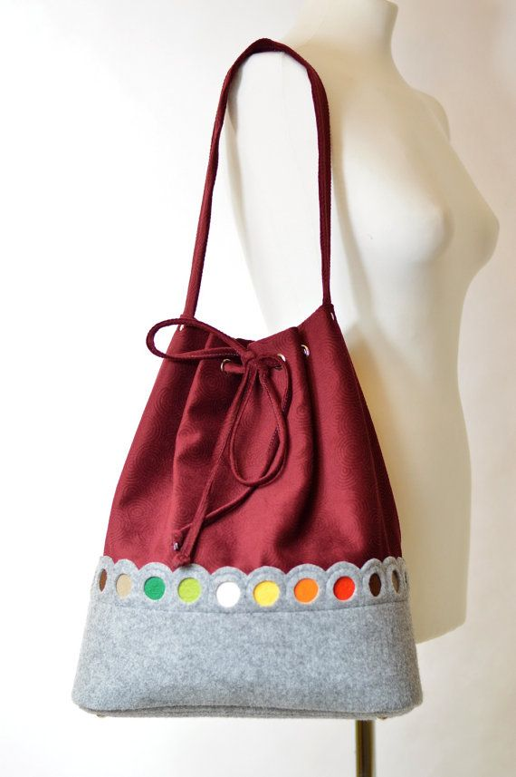 Maroon lovely handmade fashionable Big Size Hobo Felt Bag with
