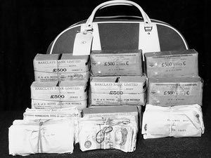 Thames Valley police handout photo of part of the 2.5 million stolen by the Great Train Robbers forty years ago, that went on display today at an exhibition at Thames Valley Police's museum in Sulhamstead, near Reading.