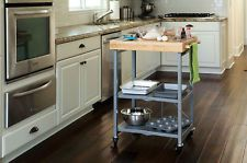 Origami Butcher Block Kitchen Cart - Folding Microwave Stand