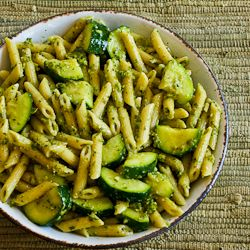 Penne with Basil Pesto and Zucchini. I always add fresh basil leaves, spinach, onions, fresh diced garlic cloves, and top it off with some cheese! Delicious with a glass of wine.