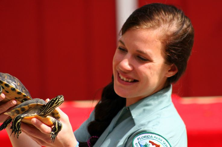 Emily with a couple of Yellow Belly Slider turtles