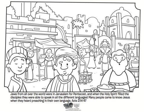 kids coloring page from what 39 s in the bible showing the people of pentecost from acts 2 14 47. Black Bedroom Furniture Sets. Home Design Ideas